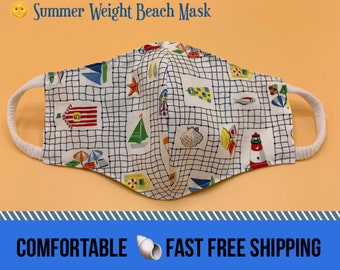 Beach theme summer cotton face mask, nautical print, 3 layer w/ filter pocket, soft ear loops, face cover, washable, reusable, size S M L XL