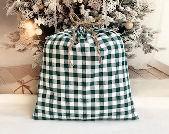 Large Christmas fabric gift bag farmhouse style, green buffalo check star pattern, 15 x 16 with double rope drawstring, reusable sustainable