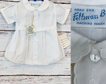 Vintage baby boy Christening outfit for newborns, Feltman Bros old store stock 1980's, baby photo shoot, blessing, Easter, reborn dolls