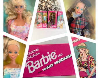 Vintage Barbie dolls from early 1990's, Scottish 1990, Spring Bouquet 1992, Wacky Warehouse 1992, Fun to dress 1992, in unopened boxes
