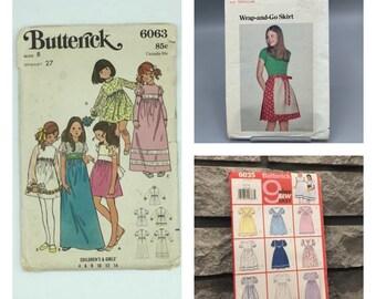 Girls vintage Butterick dress or skirt patterns, 6063 size 8, 5626 size 8-10, 6035 size 6-8