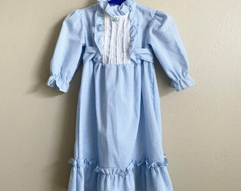 Vintage Baby Dress/ Western Style/ Blue Gingham/Kid Kountry Western Art Brand/ 1970-1980's