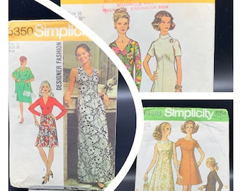 Vintage dresses sewing patterns from 1960's and 1970's, Simplicity sizes 14 - 18, long evening or short casual dresses