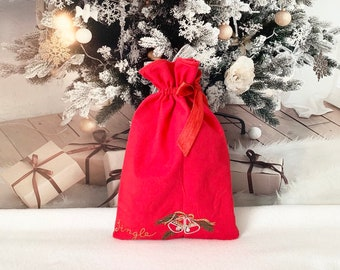 Christmas fabric gift bags with red sparkly satin ribbon side drawstring , Jingle bells embroidered design, reusable gift bags, 8.25 x 13