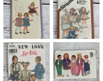 Vintage Toddler sewing patterns by Simplicity, sizes 1/2 to 6, dresses, rompers jumpers and more, 1970's to 1990's