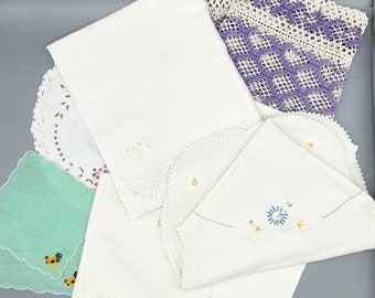Cut and Craft vintage linens lot, 7 pieces, doilies, table runners, tea towel, hand embroidery and crochet lace