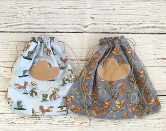 Sustainable reusable drawstring bags/ Cowboy theme fabric gift bags/rodeo or horse lovers gift/Western style gift/2 styles