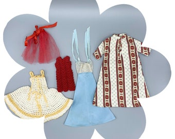 Vintage handmade Barbie clothes lot, nightgown, evening dress, 1960's seamstress made fashions for 11 1/2 inch dolls, crochet doll clothes