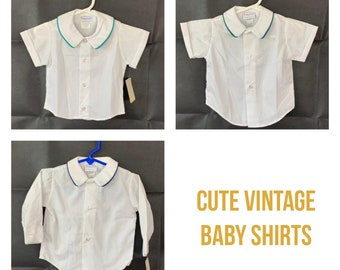 Baby boy shirts size 12 M made by Imp Originals Inc, vintage old store stock from 1980s, photos, Baptism, Blessing, Christening, wedding
