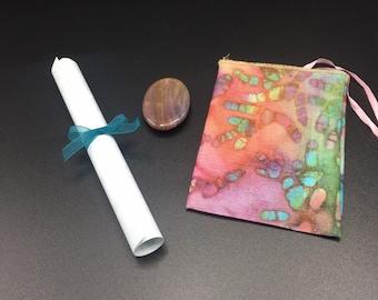 Jasper worry stone gift box set/ stress reliever/ motivational saying/ fancy jasper rub stone/ gift for comfort grieving/ gift for mom