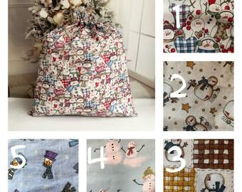 Big Christmas fabric gift bags in cute snowman prints, handmade Santa sacks, rope drawstring, family gifts, extra large gift toy bag 22 x 24
