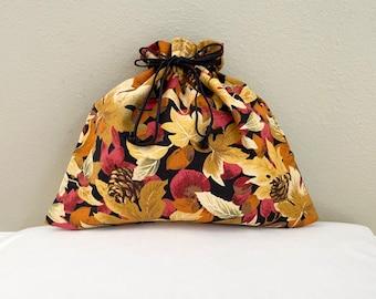 Lined Drawstring Storage Bag/ Fabric gift bag/ Fall leaves design/ cosmetics make-up bag/ jewelry travel bag/ reusable bag/ 9 x 10