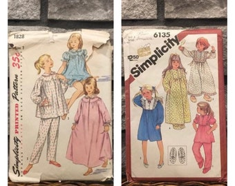 Old Fashioned Girls pajamas & nightgown patterns vintage Simplicity 1828 1960s size 7, or 6135 size 3 from 1983, nightgown, robe slippers.