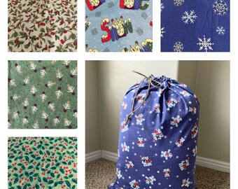 Extra large Christmas fabric gift bags, 6 flannel print choices, big Santa sack, rope drawstring, family gifts, 18 - 21 wide x 20 - 29 long