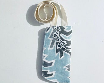 Reading glasses case with lanyard, hanging eyeglass necklace, 3 x 6, gift for teacher, mom, or grandma, rescued upholstery fabric