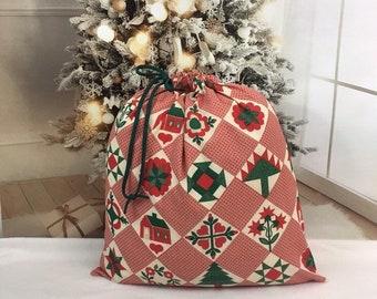 Large Christmas fabric gift bags, farmhouse cottage quilt style, handmade Santa sacks, cord drawstring, big gift bag 19.5 x 20.5,m