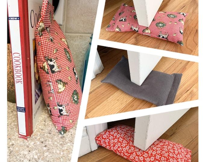 Featured listing image: Fabric Door Stop, Door Stopper, Nursery Door Holder, Door Wedge, Book Ends, Paper Weight, EMPTY cover only, 6 Fabric Choices, Sustainable