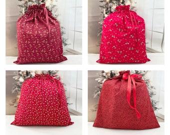 Extra Large Christmas fabric gift bags, reusable, storage bag, handmade Santa sack, ribbon drawstring, gift toy bag, 20-22x 27-30, 4 fabrics