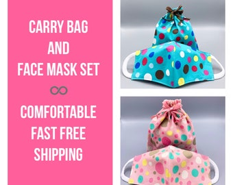 Polka Dot face mask and/or carry bag, adult or kids mask for school, 3 layer w/ filter pocket, soft ear loops, washable, 2 colors, 7 sizes