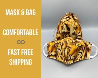 Tiger print face mask &/or bag, cotton, filter pocket, soft ear loops, school tiger mascot, Halloween mask, washable, 7 sizes kids-adult XL