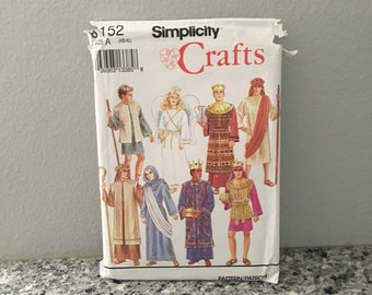 Nativity or biblical costume pattern from 1992 Simplicity 8152 adult sizes XS-XL UNCUT Mary Joseph shepard kings & angel Christmas Pageant