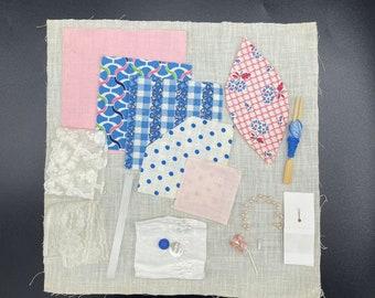 Slow Stitch Kit Pink Blue/100% Vintage Fabric Lace Embellishments/Junk Journal/Mindful Stitching/Sashiko/Boro Visible Mending/Collage