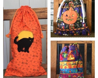 Drawstring Halloween prints fabric gift bags/ Trick-or-treat bags/ 3 designs/ Sustainable reusable bags