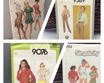 Vintage Simplicity sewing patterns, 8780, 9589, 9076, 6953, mini skirt, skort, shorts, tops and pants, misses sizes 8-16