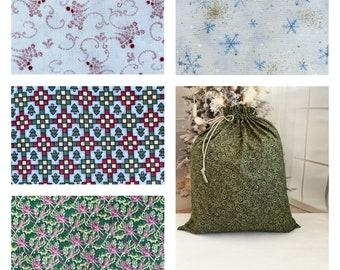 Christmas fabric gift bags, 5 beautiful prints, handmade Santa sack, large size, reusable, drawstring, sustainable, toy bag 20 x 22-27