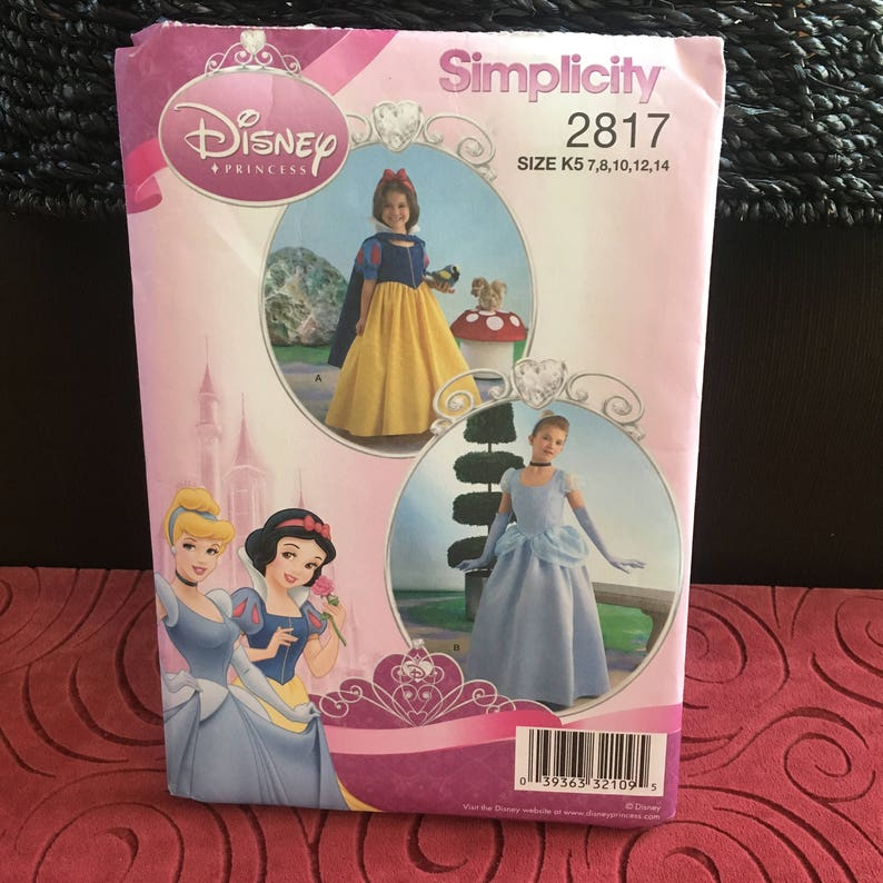 Disney princess dresses costume pattern for girls, Cinderella or Snow  White, Halloween or princess party dress, Simplicity 2817, Sizes 7-14
