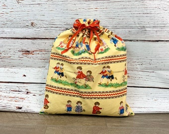 Large drawstring fabric gift bag/ baby shower gift/ old fashioned print/ Mother's Day/ reusable/ craft or toy bag/ 15 x 18.5