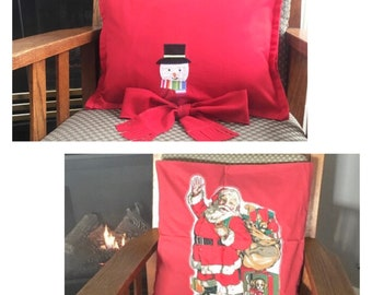 Christmas pillow covers with Embroidered snowman and wool scarf tie, 12 x 16 or Santa Appliqué cushion cover