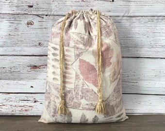Large Laundry Bags/Storage Bags/drawstring bags/handmade with tassels/bridal or wedding gift/upholstery fabric leaf pattern 18 x 25