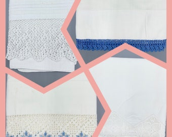 Hand crochet lace edges vintage pillowcase singles, for cut and craft, choose design, standard sizes