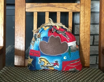 Sustainable Cowboy theme fabric gift bag, rodeo or horse lovers birthday gift, Western style gift, reusable drawstring bag, 10 x 10.5