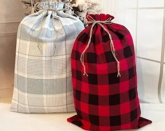 Buffalo Plaid Extra Large Christmas fabric gift bags, big Santa sack, rope drawstring, family gifts, 14-17 wide x 22- 23.5 long