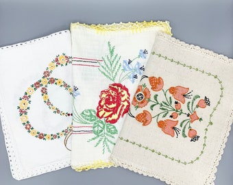 Vintage rectangular table runners, dresser scarves, linen or cotton with embroidery, crochet edges, choose floral designs