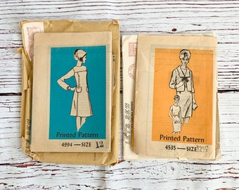 Mid Century Modern vintage mail order dress patterns from 1966, 4994 or 4535/ long sleeve dress size 12/ dress with jacket size 12 1/2