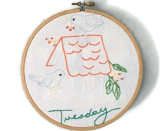 Tuesday vintage embroidered quilt square for farmhouse decor wall hanging with birdhouse, birds and word Tuesday, 9  3/4 x 10 inches