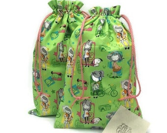 Sustainable Drawstring fabric gift bags/ baby shower little girl birthday or pajama bag/ girls with dogs/  9.5 x 14 or 10 x 15.5