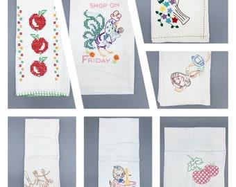 Vintage flour sack embroidered large dish towel singles, farmhouse, rustic, primitive, kitchen decor
