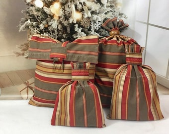 Sustainable large fabric gift bags/ striped southwest colors/ upcycled upholstery fabric/ reusable gift bags/ eco-friendly/ 4 sizes