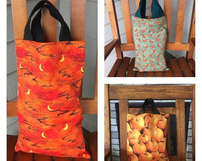 Featured listing image: Halloween or Fall Theme Tote Bags, Trick or Treat bag, Sustainable Gift, Fabric Gift Bags, Halloween Decor, Reusable Tote, Zero Waste Gifts