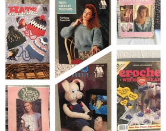 Vintage crochet patterns and instructions/ leaflets and magazines/ hats, sweaters, blankets, collars/ Annie's Attic/ Red Heart Yarns