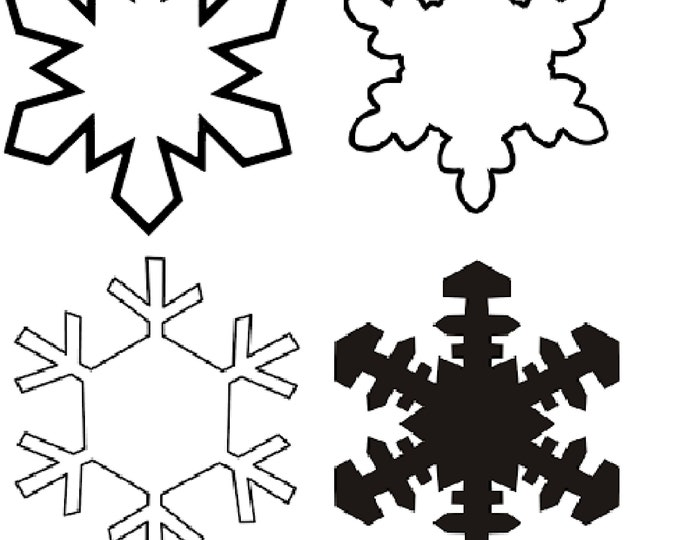 """4 or 8 pack Snowflakes, Clear Acrylic, Text Personalized Holiday Christmas Ornament 3"""" - 12"""""""