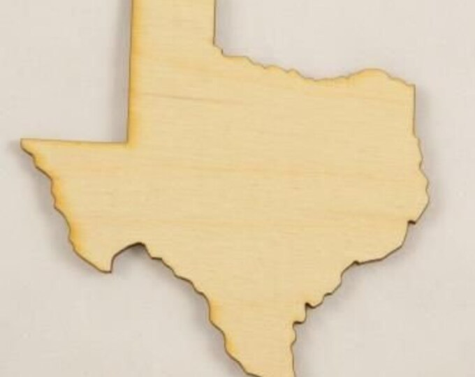 States Cutout from Birch Plywood - 5 Units, All 50 states available / Laser cut in USA .25 Inch Wood, Maker Idea Product Bigger In Texas