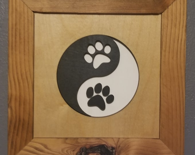 """Wall Art Dog Paw Yin Yang Sign 10"""" x 10"""" Upcycled Frame 3 dimensional design - Cutout Birch Plywood - Made in #USA Wood Wall Art 3D"""