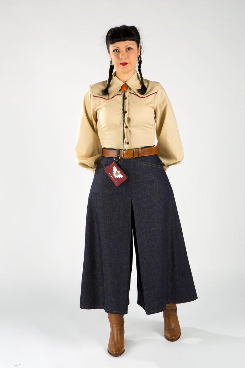 1940s Swing Pants & Sailor Trousers- Wide Leg, High Waist Culottes / Organic Cotton pants / 40s Western Denim Jeans / Women Culottes /Women Denim culottes / culottes pants $152.40 AT vintagedancer.com