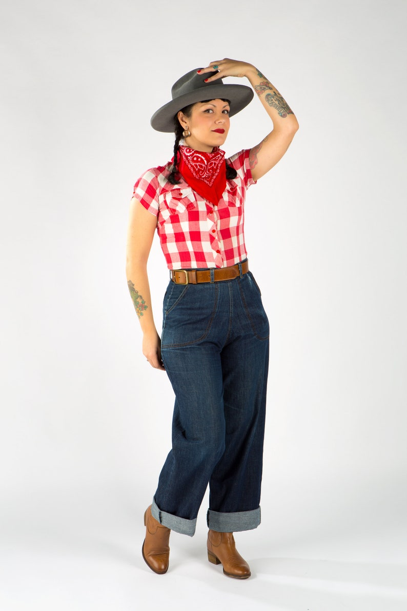 Vintage Western Wear Clothing, Outfit Ideas     1940s women working Jeans/Organic Denim Jeans/Organic Cotton Jeans /40s Denim Jeans /Western Jeans/1940s Women Jeans/1940s Working Jeans $146.30 AT vintagedancer.com