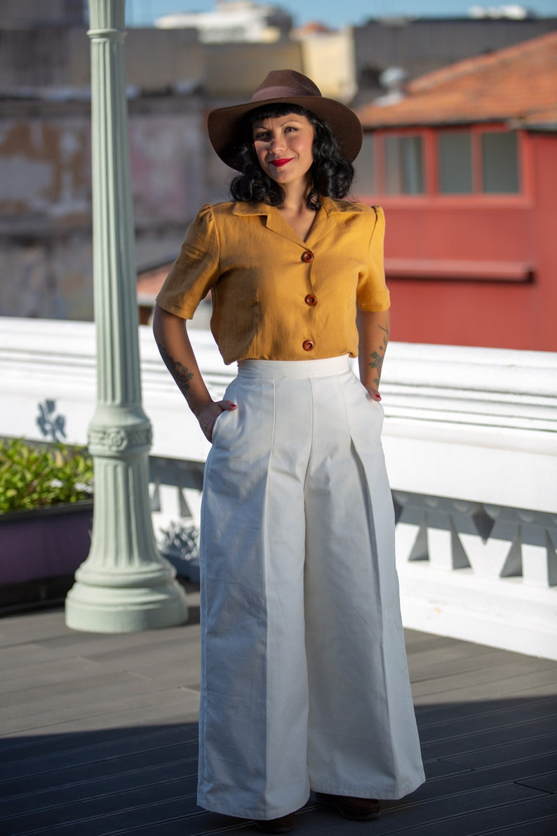 1940s Swing Pants & Sailor Trousers- Wide Leg, High Waist     Organic cotton pants/1940s women trousers/1940s pants/Women High waist pants/1940s women slacks / 40s woman slacks $137.73 AT vintagedancer.com